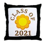 Sunflower Design Class Of 2021 Throw Pillow