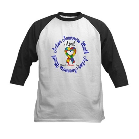 Autism Awareness Ribbon Kids Baseball Jersey