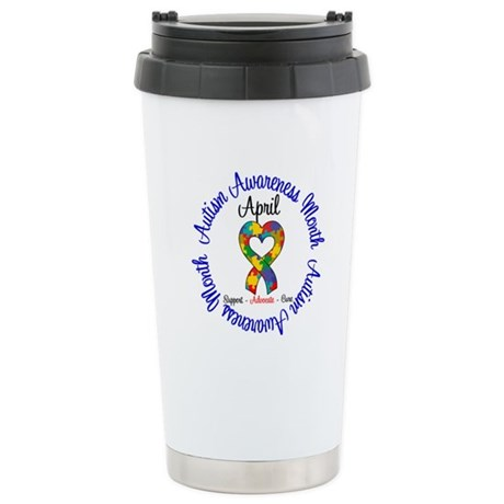 Autism Awareness Ribbon Ceramic Travel Mug
