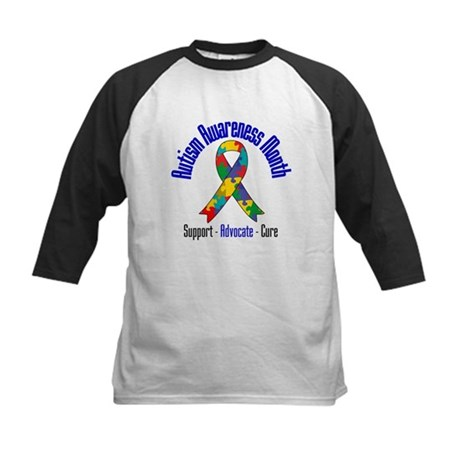 Autism Month Ribbon Kids Baseball Jersey