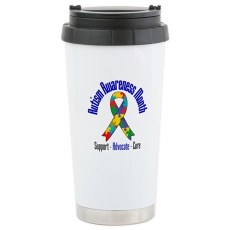 Autism Month Ribbon Ceramic Travel Mug