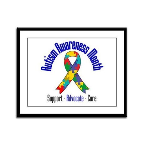 Autism Month Ribbon Framed Panel Print