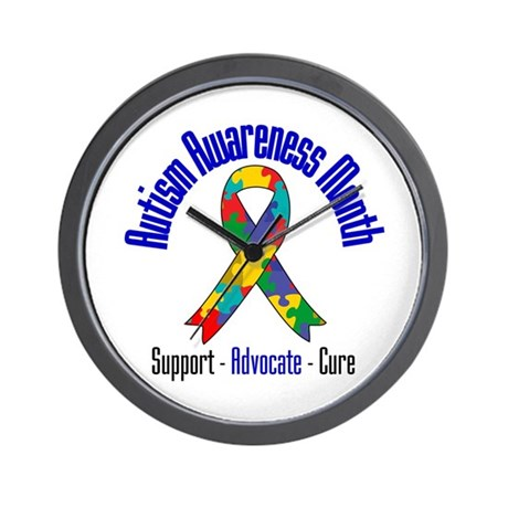 Autism Month Ribbon Wall Clock