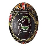 Pretty Oval Pysanka Flat Ceramic Oval Ornament