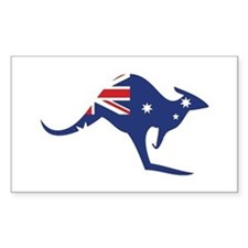 australian flag kangaroo Rectangle Stickers