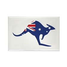 australian flag kangaroo Rectangle Magnet (100 pac