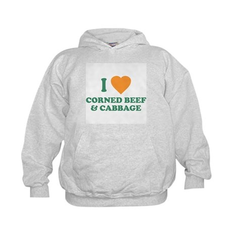 I Love Corned Beef & Cabbage Kids Hoodie
