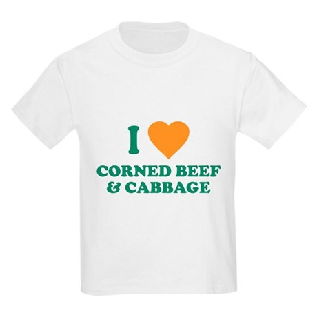 I Love Corned Beef & Cabbage Kids Light T-Shirt
