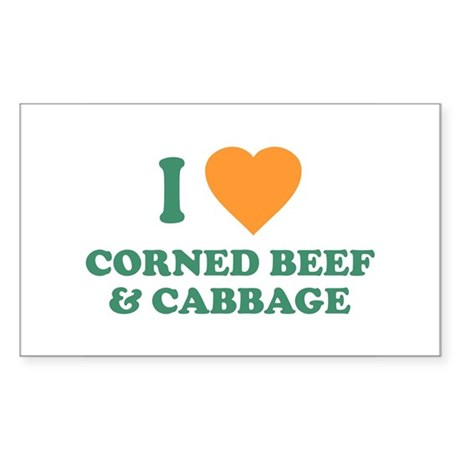 I Love Corned Beef & Cabbage Rectangle Sticker