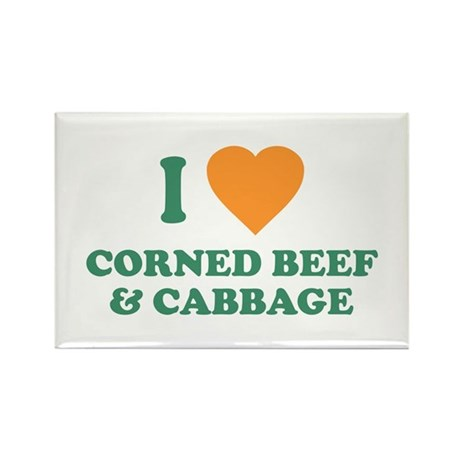 I Love Corned Beef & Cabbage Rectangle Magnet