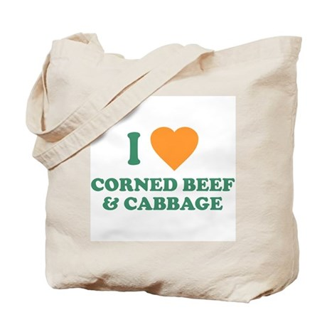 I Love Corned Beef & Cabbage Tote Bag