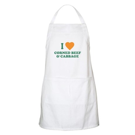 I Love Corned Beef & Cabbage BBQ Apron