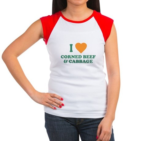 I Love Corned Beef & Cabbage Womens Cap Sleeve T-