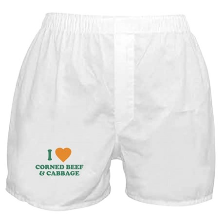 I Love Corned Beef & Cabbage Boxer Shorts
