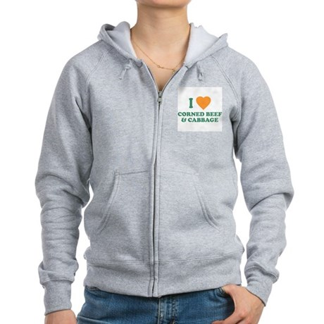 I Love Corned Beef & Cabbage Womens Zip Hoodie