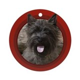 Cairn Terrier Round Red Ornament