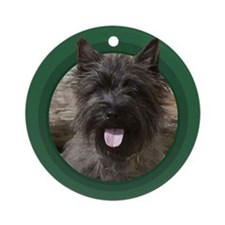 Cairn Terrier Round Green Ornament