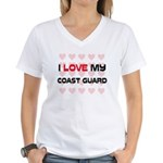 I Love My Coast Guard Women's V-Neck T-Shirt