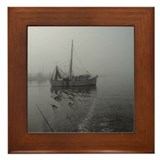 Shrimp boat in the mist Framed Tile
