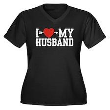I Love My Husband Women's Plus Size V-Neck Dark T-