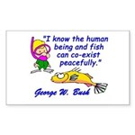 Humans and Fish Rectangle Sticker