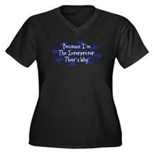 Because Interpreter Women's Plus Size V-Neck Dark