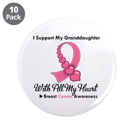 "BreastCancerGranddaughter 3.5"" Button (10 pack)"