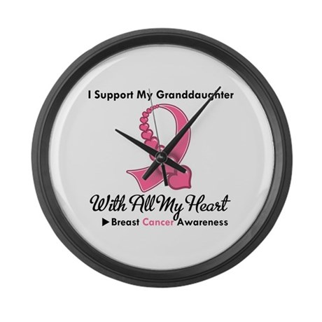 BreastCancerGranddaughter Large Wall Clock