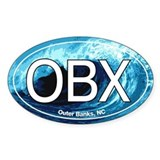 OBX Outer Banks NC Wave Oval Oval Decal
