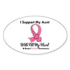 BreastCancerSupportAunt Oval Sticker (50 pk)