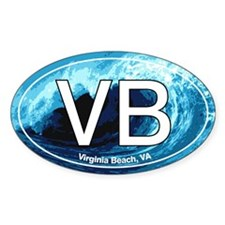 VB Virginia Beach Wave Oval Oval Sticker (50 pk)