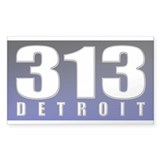 313 Detroit Rectangle Decal