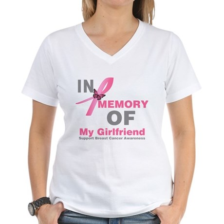 BreastCancerMemoryGirlfriend Women's V-Neck T-Shir
