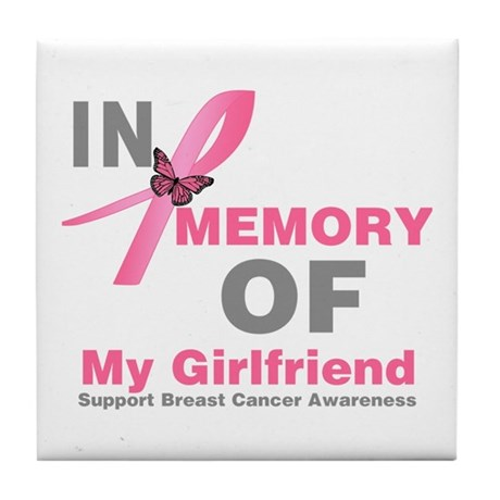 BreastCancerMemoryGirlfriend Tile Coaster