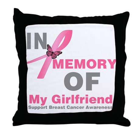BreastCancerMemoryGirlfriend Throw Pillow