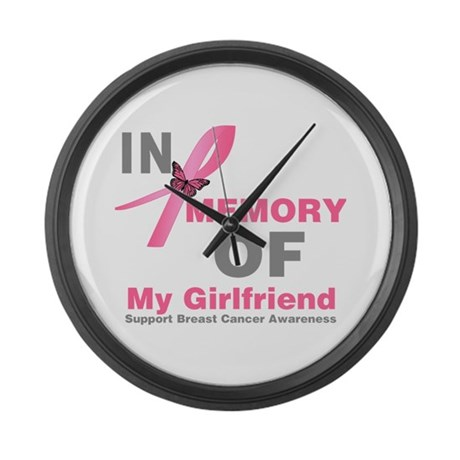 BreastCancerMemoryGirlfriend Large Wall Clock