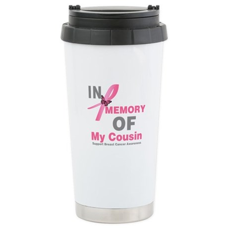 BreastCancerMemoryCousin Ceramic Travel Mug