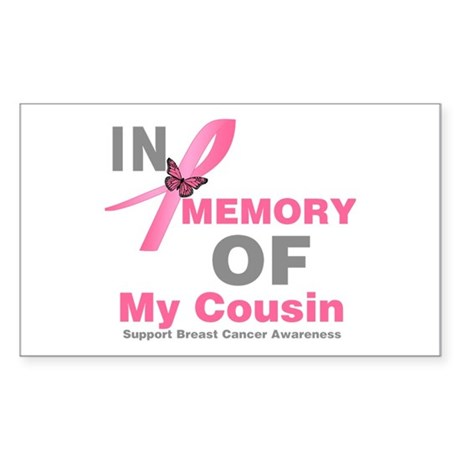 BreastCancerMemoryCousin Rectangle Sticker
