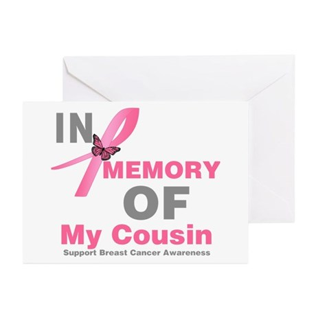 BreastCancerMemoryCousin Greeting Cards (Pk of 10)
