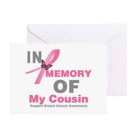 BreastCancerMemoryCousin Greeting Cards (Pk of 20)