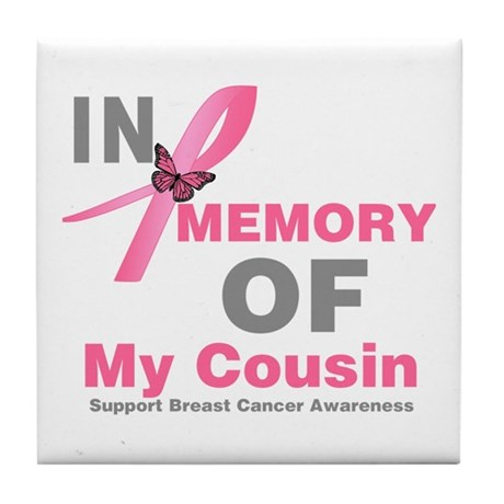 BreastCancerMemoryCousin Tile Coaster