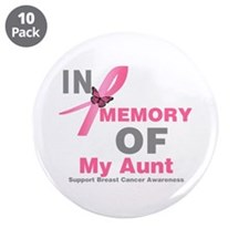 "BreastCancerMemoryAunt 3.5"" Button (10 pack)"