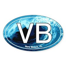 VB Vero Beach Wave Oval Oval Sticker (10 pk)