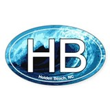 HB Holden Beach Wave Oval Oval Decal