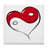 Ying Yang Heart Tile Coaster
