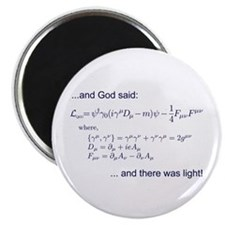 """God said, let there be light (QED) 2.25"""" Magnet (1"""