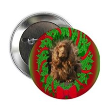 "Sussex Spaniel Christmas 2.25"" Button (10 pack)"