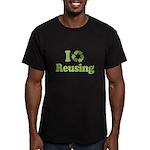 I Love Reusing Men's Fitted T-Shirt (dark)
