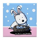 Easter Rabbit Westie Tile Coaster