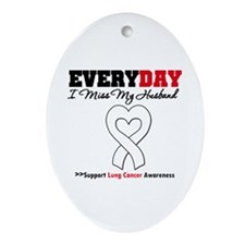 LungCancer MissMyHusband Oval Ornament